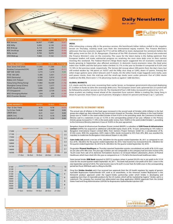 Oct 21, 2011Volume: 1   Issue: 389  November 1, 2010INDIAN MARKET *                               20-Oct       19-Oct     ...