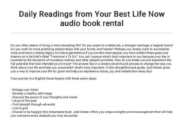 Daily Readings From Your Best Life Now Audio Book Rental