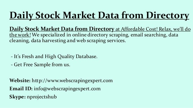 Daily stock market data from directory