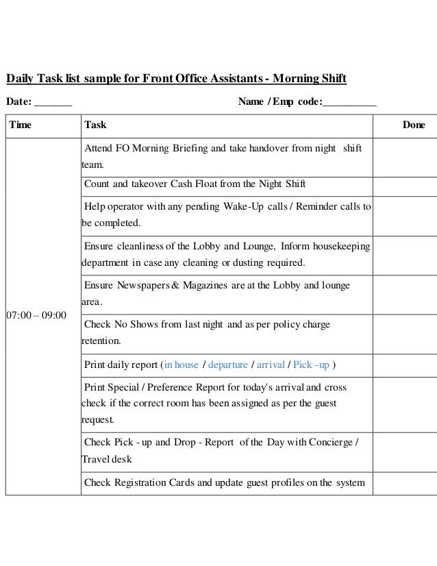 Daily task list sample for front office assistants for Job handover checklist template