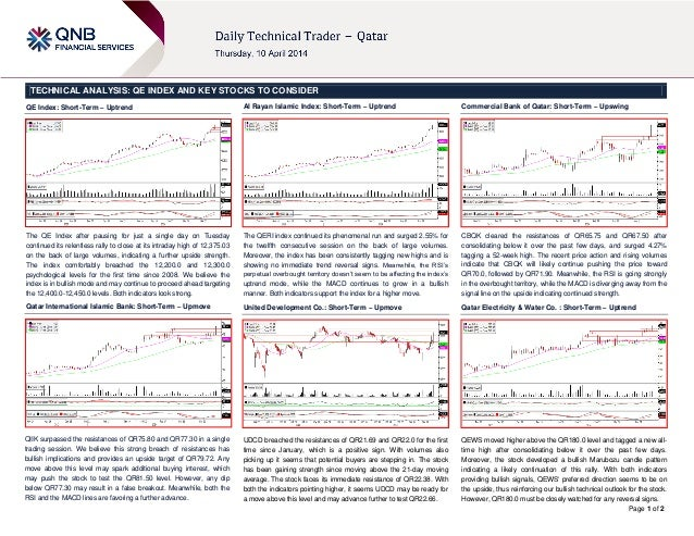 Page 1 of 2 TECHNICAL ANALYSIS: QE INDEX AND KEY STOCKS TO CONSIDER QE Index: Short-Term – Uptrend The QE Index after paus...