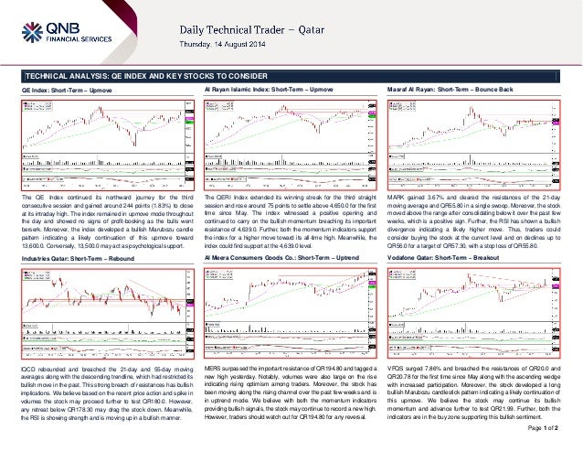Page 1 of 2 TECHNICAL ANALYSIS: QE INDEX AND KEY STOCKS TO CONSIDER QE Index: Short-Term – Upmove The QE Index continued i...