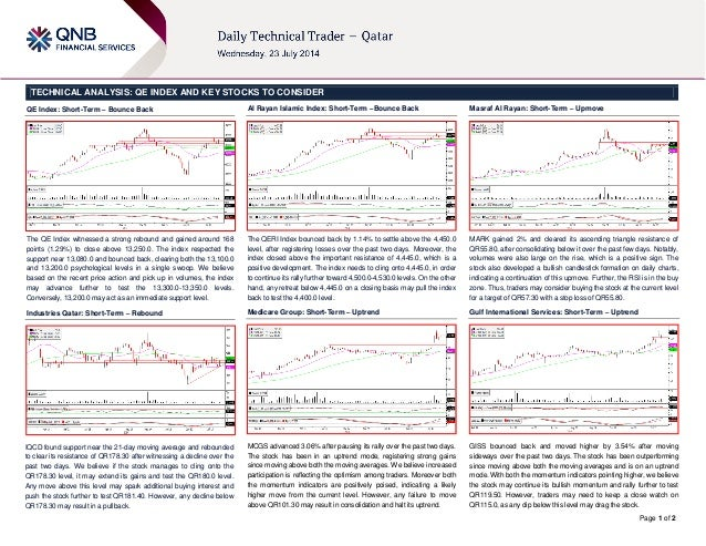 Page 1 of 2 TECHNICAL ANALYSIS: QE INDEX AND KEY STOCKS TO CONSIDER QE Index: Short-Term – Bounce Back The QE Index witnes...