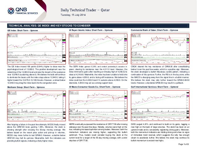 Page 1 of 2 TECHNICAL ANALYSIS: QE INDEX AND KEY STOCKS TO CONSIDER QE Index: Short-Term – Upmove The QE Index moved 109 p...