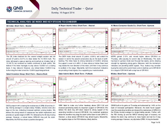 Page 1 of 2 TECHNICAL ANALYSIS: QE INDEX AND KEY STOCKS TO CONSIDER QE Index: Short-Term – Neutral The QE Index declined f...