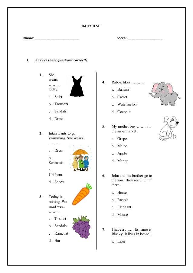 English Test for Basic Level