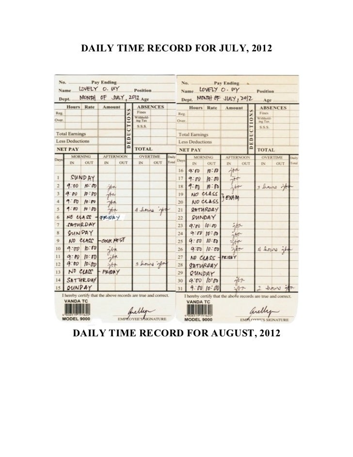 DAILY TIME RECORD FOR JULY, 2012DAILY TIME RECORD FOR AUGUST, 2012
