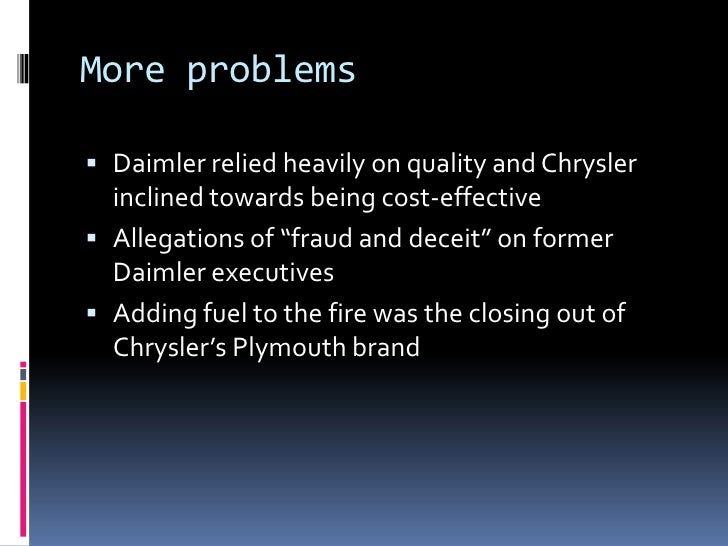 daimler chrysler merger failure In may, 1998, daimler-benz 1 and chrysler corporation, 2 two of the world's leading car manufacturers, agreed to combine their businesses in what they claimed to be a merger.