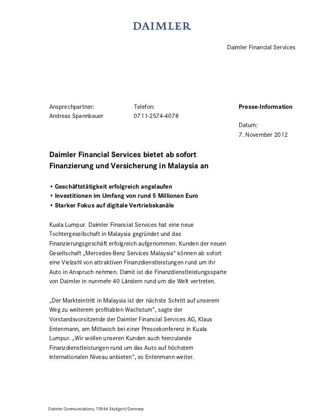 Daimler Financial ServicesAnsprechpartner:                         Telefon:                        Presse-InformationAndre...