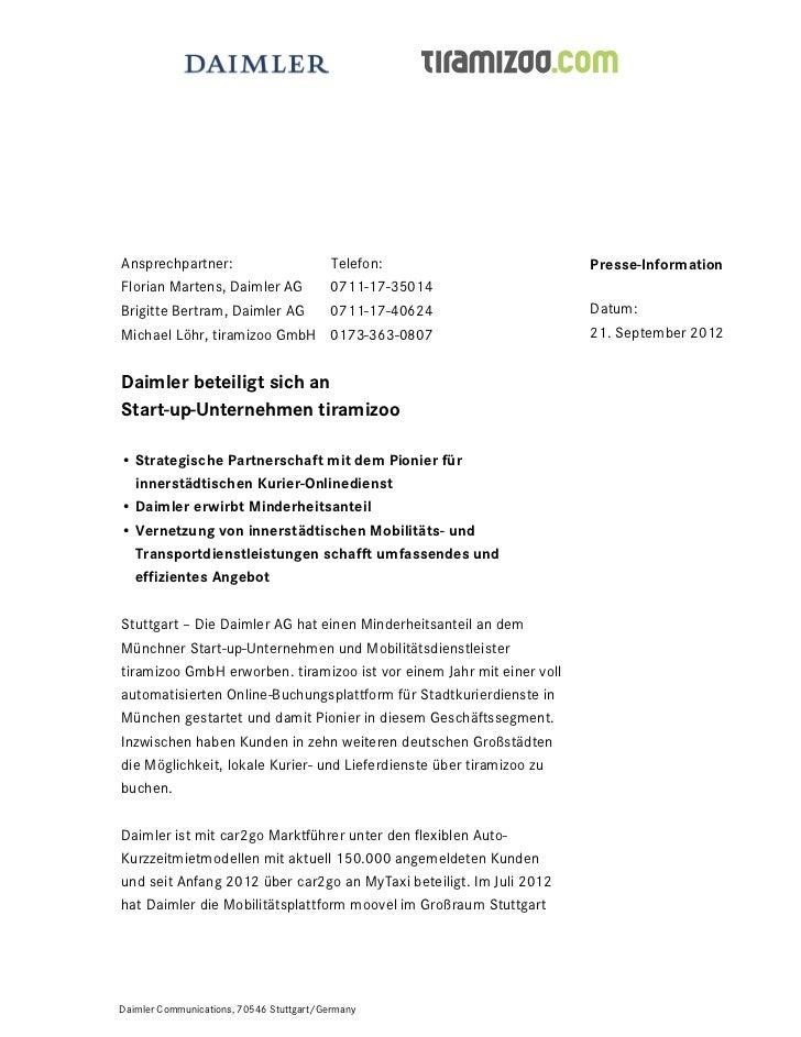 Ansprechpartner:                         Telefon:                      Presse-InformationFlorian Martens, Daimler AG      ...