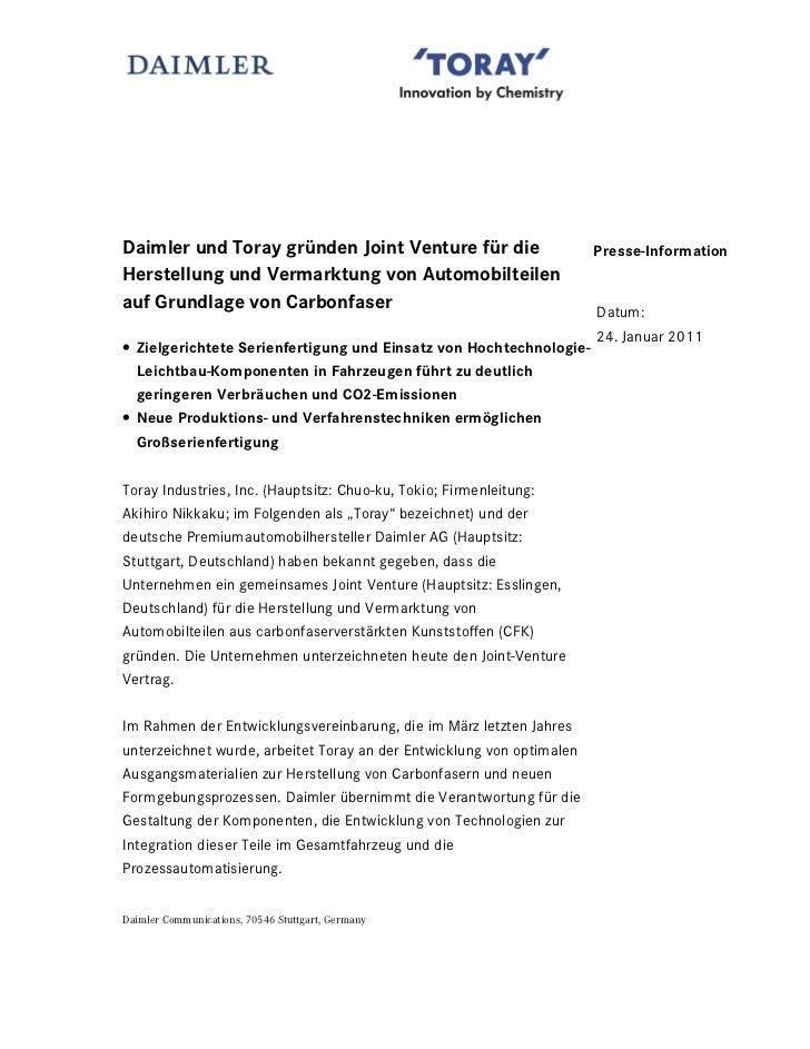 Daimler und Toray gründen Joint Venture für die                        Presse-InformationHerstellung und Vermarktung von A...