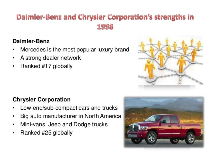 daimler chrysler merger essay Daimler chrysler is the result of merging daimler-benz and the chrysler corporation in late 1998 the merger was to be one of the largest on record, and the beginning of a new wave of mergers sweeping through the automotive industry although the companies were manufacturing generally similar.