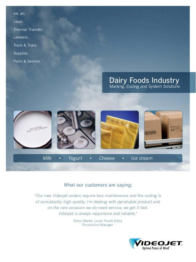 Dairy Foods Industry Marking, Coding and System Solutions Ink Jet. Laser. Thermal Transfer. Labelers. Track & Trace. Suppl...