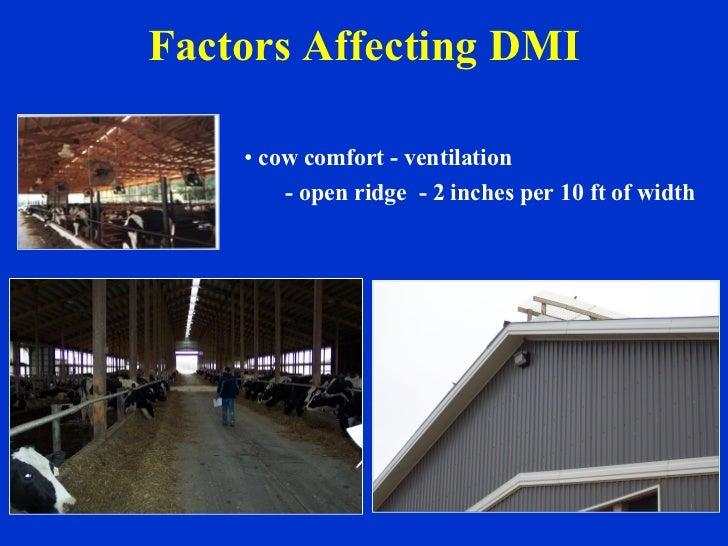 Factors Affecting DMI <ul><li>cow comfort - ventilation  </li></ul><ul><li>- open ridge  - 2 inches per 10 ft of width </l...