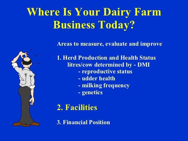 Where Is Your Dairy Farm Business Today? Areas to measure, evaluate and improve 1. Herd Production and Health Status litre...