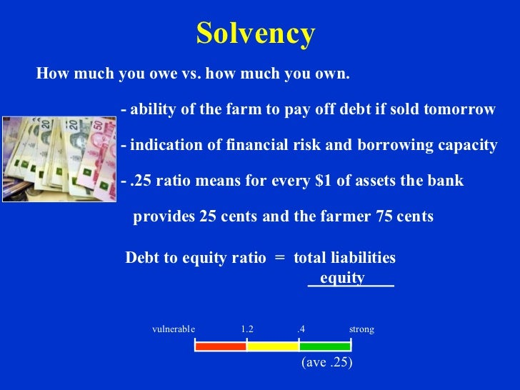 Solvency How much you owe vs. how much you own. - ability of the farm to pay off debt if sold tomorrow - indication of fin...