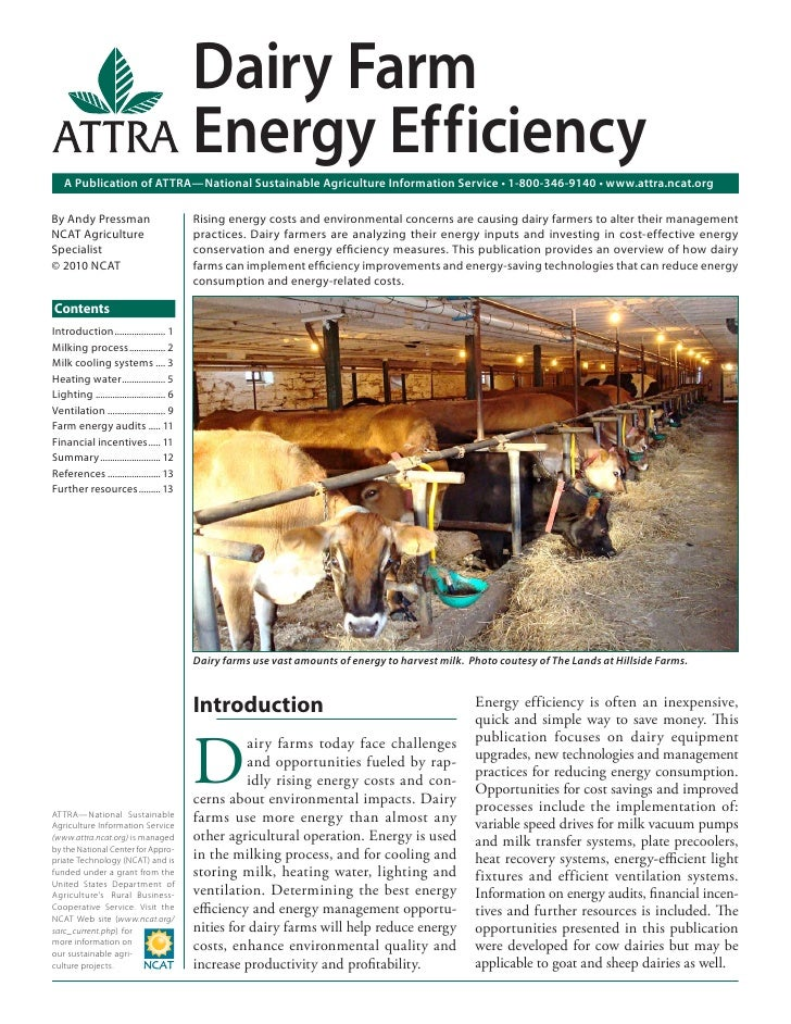 Dairy Farm                                           Energy Ef f iciency   A Publication of ATTRA—National Sustainable Agr...