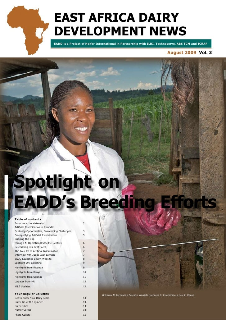 EAST AFRICA DAIRY                                DEVELOPMENT NEWS                                EADD is a Project of Heif...