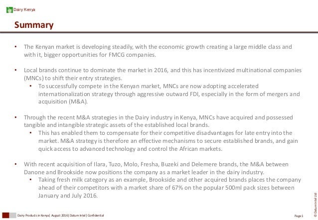MNCs Controlling the Dairy Industry Market in Kenya through M&A