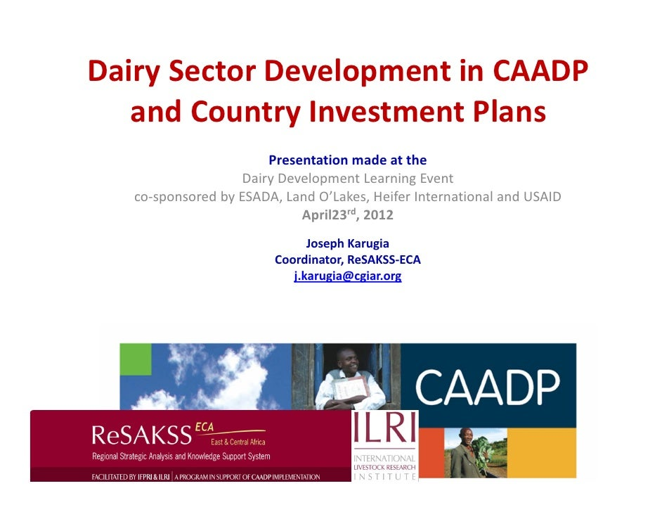 Dairy Sector Development in CAADP    and Country Investment Plans                                                         ...