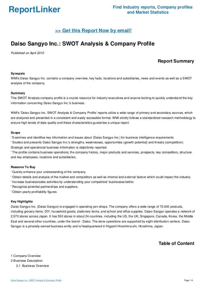Daiso Sangyo Inc.: SWOT Analysis & Company Profile