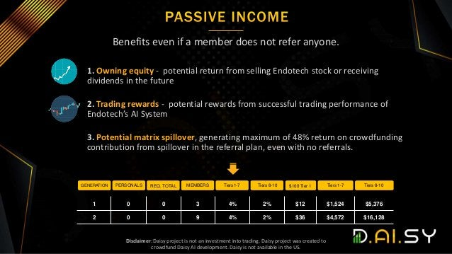 Benefits even if a member does not refer anyone. 1. Owning equity - potential return from selling Endotech stock or receiv...