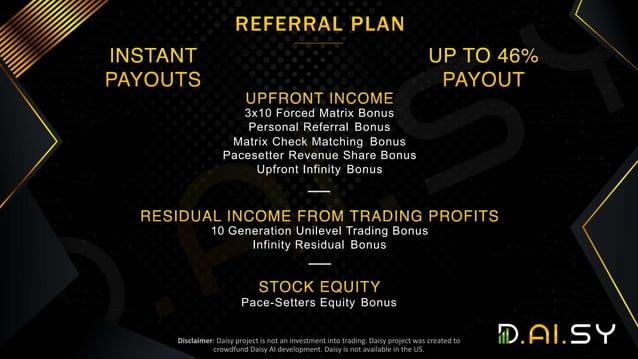 3x10 Forced Matrix Bonus Personal Referral Bonus Matrix Check Matching Bonus Pacesetter Revenue Share Bonus Upfront Infini...