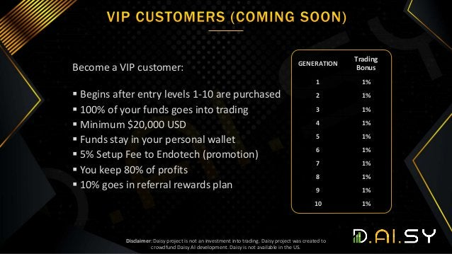 Become a VIP customer:  Begins after entry levels 1-10 are purchased  100% of your funds goes into trading  Minimum $20...