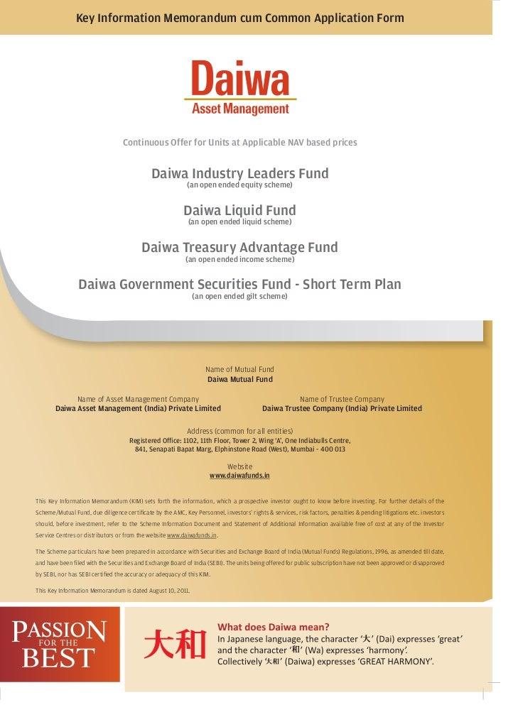Key Information Memorandum cum Common Application Form                                  Continuous Offer for Units at Appl...