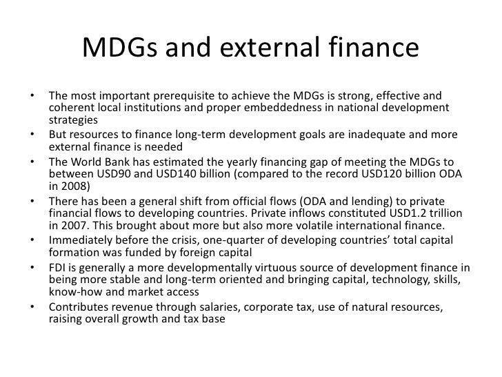 MDGs & external finance, Peter Gammeltoft, Dakar 2009 Slide 2