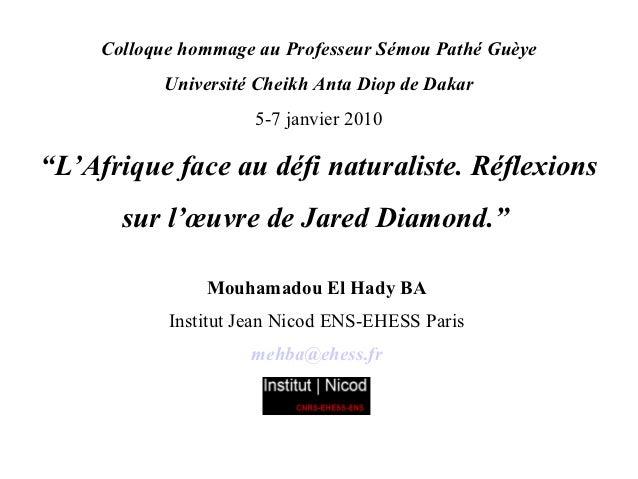 Colloque hommage au Professeur Sémou Pathé Guèye           Université Cheikh Anta Diop de Dakar                      5-7 j...