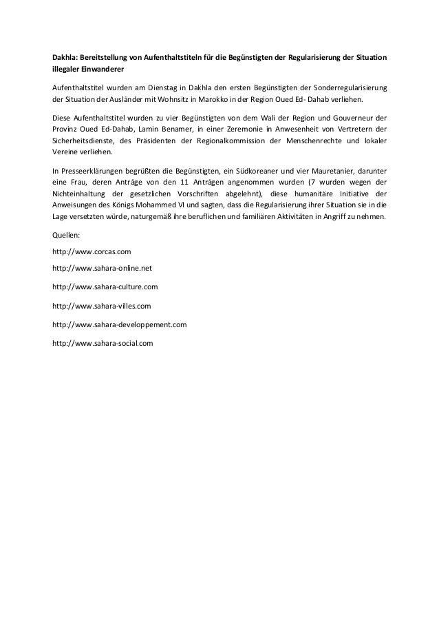 Dakhla: Bereitstellung von Aufenthaltstiteln für die Begünstigten der Regularisierung der Situation illegaler Einwanderer ...