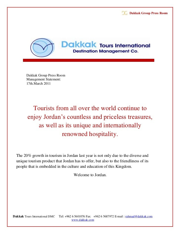 Dakkak Group Press Room         Dakkak Group Press Room         Management Statement:         17th.March 2011            T...