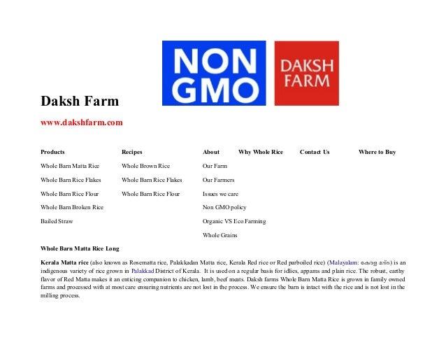 Daksh Farm www.dakshfarm.com Products  Recipes  About  Why Whole Rice  Whole Barn Matta Rice  Whole Brown Rice  Our Farm  ...