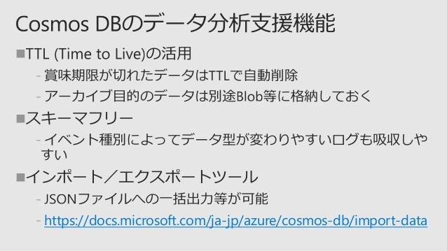     ﹣ 参考: Azure Cosmos DB のメトリックを使用した監視とデバッグ https://docs.microsoft.com/ja-jp/azure/cosmos-db/use-metrics