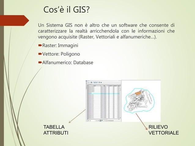 Cos'è il GIS? Un Sistema GIS non è altro che un software che consente di caratterizzare la realtà arricchendola con le inf...