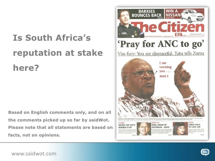 Is South Africa's reputation at stake here?<br />Based on English comments only, and on all the comments picked up so far ...