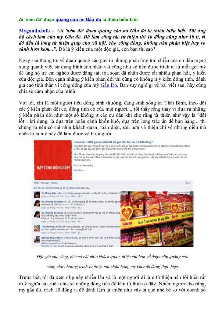 """Ai ném đá đoạn quảng cáo mì Gấu đỏ là thiếu hiểu biếtMygaudo.info – """"Ai ném đá đoạn quảng cáo mì Gấu đỏ là thiếu hiểu biết..."""