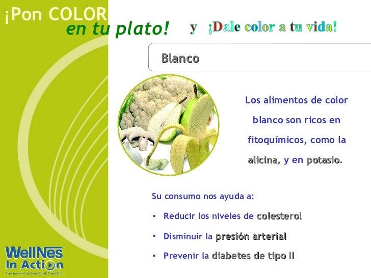 ¡Pon COLOR      en tu plato!                  Blanco                                     Los alimentos de color           ...