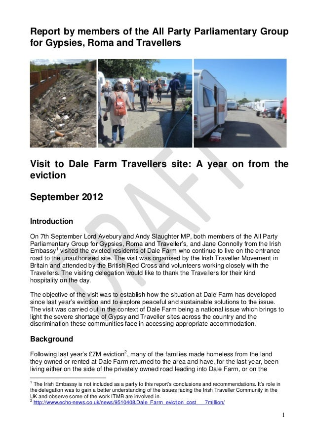 Report by members of the All Party Parliamentary Groupfor Gypsies, Roma and TravellersVisit to Dale Farm Travellers site: ...