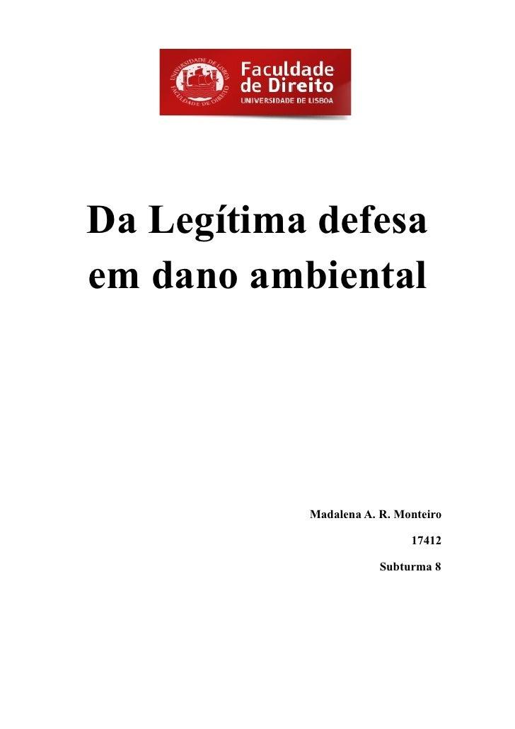 Da Legítima defesaem dano ambiental           Madalena A. R. Monteiro                            17412                    ...