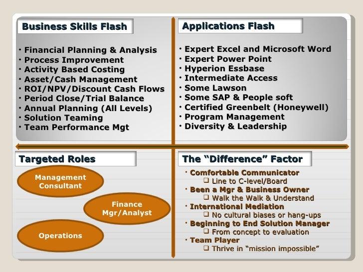 <ul><li>Financial Planning & Analysis </li></ul><ul><li>Process Improvement </li></ul><ul><li>Activity Based Costing </li>...