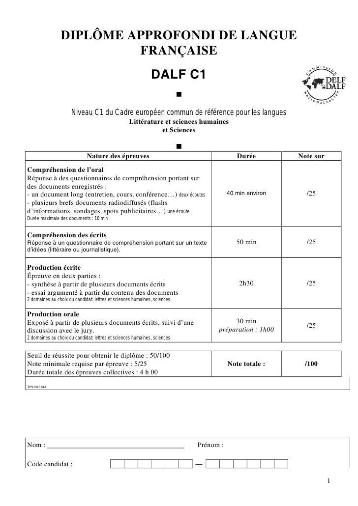 DIPLÔME APPROFONDI DE LANGUE                          FRANÇAISE                                                           ...