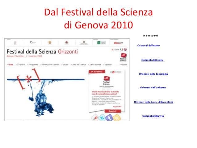 Dal Festival della Scienza di Genova 2010 In 6 orizzonti Orizzonti dell'uomo Orizzonti delle idee Orizzonti della tecnolog...