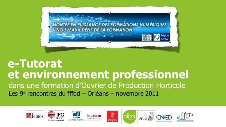 e-Tutoratet environnement professionneldans une formation d'Ouvrier de Production HorticoleLes 9e rencontres du fffod – Or...