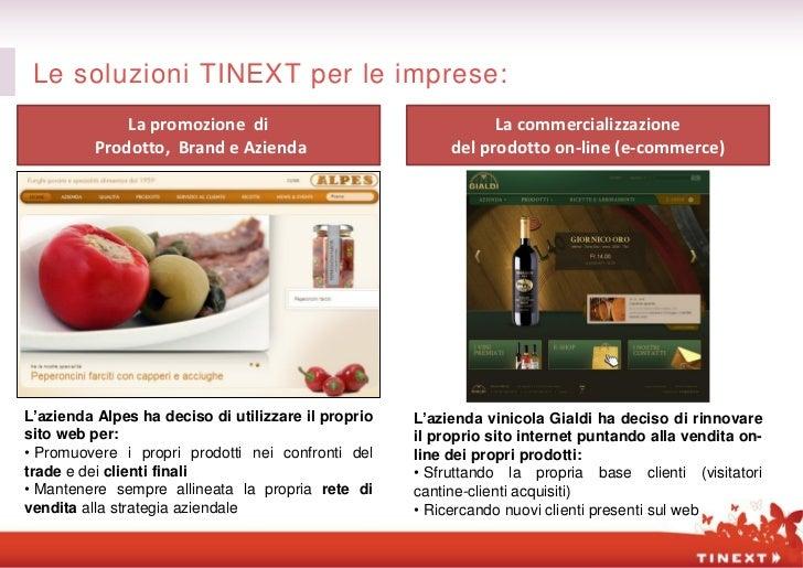 Le soluzioni TINEXT per le imprese:              La promozione di                                  La commercializzazione ...