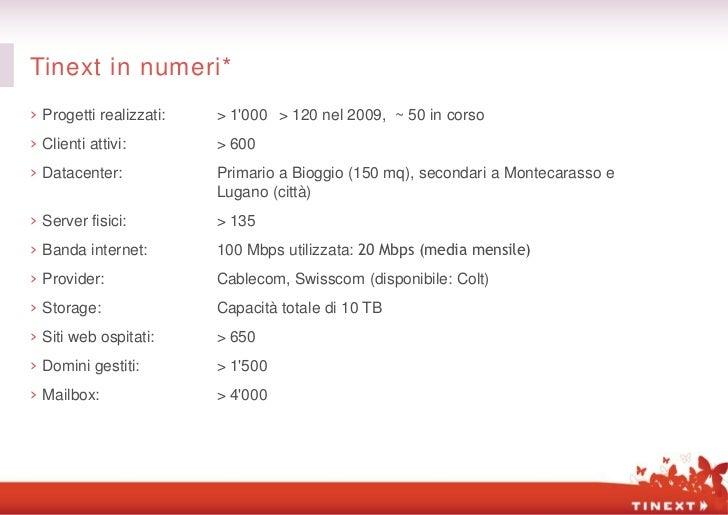 Tinext in numeri*› Progetti realizzati:   > 1000 > 120 nel 2009, ~ 50 in corso› Clienti attivi:        > 600› Datacenter: ...