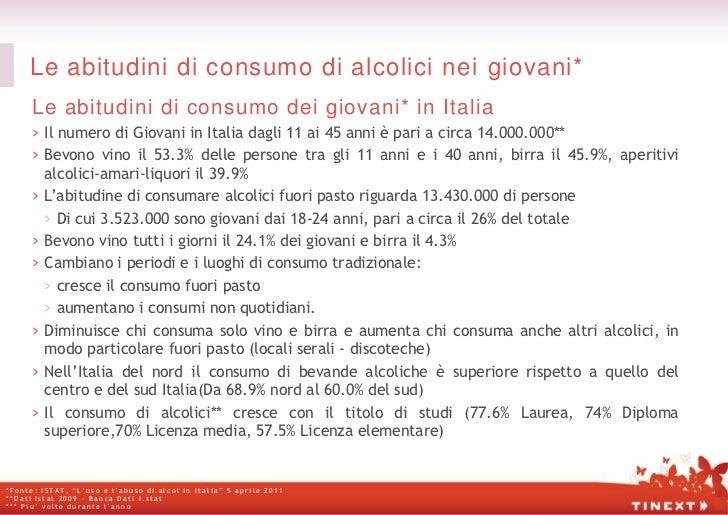 Le abitudini di consumo di alcolici nei giovani*      Le abitudini di consumo dei giovani* in Italia      › Il numero di G...