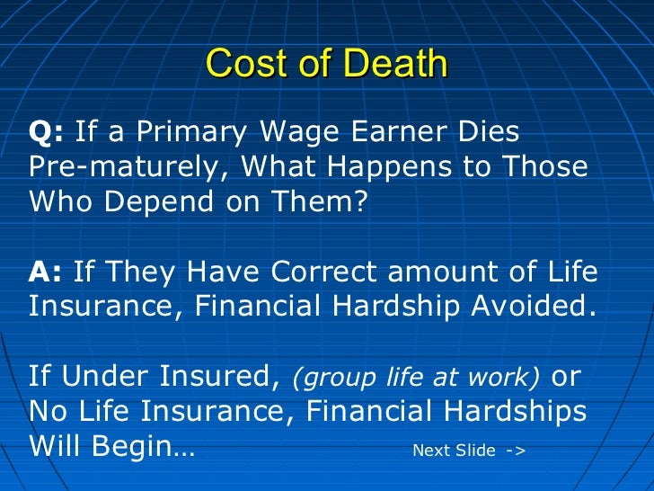 Cost of DeathQ: If a Primary Wage Earner DiesPre-maturely, What Happens to ThoseWho Depend on Them?A: If They Have Correct...