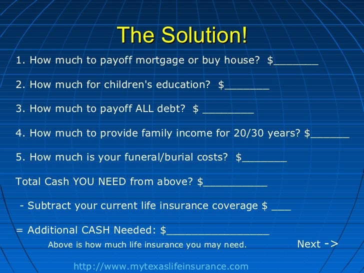 The Solution!1. How much to payoff mortgage or buy house? $_______2. How much for childrens education? $_______3. How much...